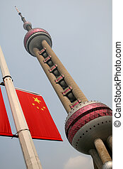 Shanghai TV tower and chinese flag