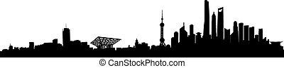 Shanghai Vector Skyline - Shanghai City Skyline Silhouette...