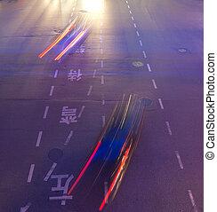 shanghai, verkeer, nacht