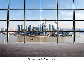 shanghai view of window outside - outside the window view of...