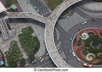 Shanghai, vista, aéreo,  China, encruzilhadas