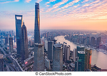 shanghai, vue, city., aérien