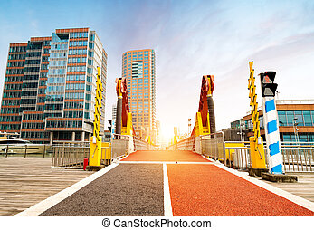 Walkway and skyscrapers in Lujiazui. Shanghai, China