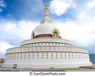 Shanti stupa in Leh Ladakh, Jammu and Kashmir, India.
