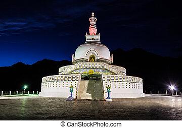Shanti Stupa, Leh, India. - Shanti Stupa is a Buddhist...