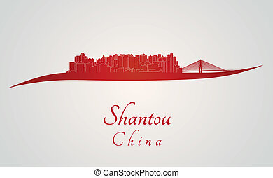 Shantou skyline in red