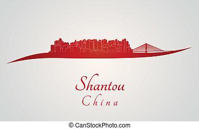 Shantou skyline in red