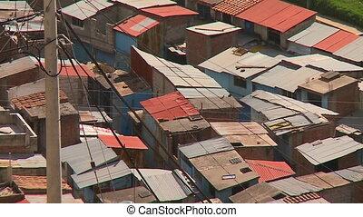 Shanty Houses In Cusco City, Peru - Close-up high angle...