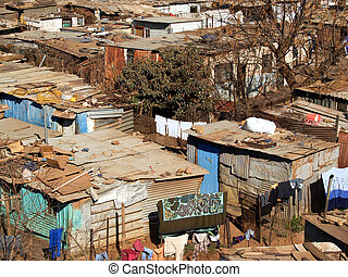 Shanty Town shacks viewed from above.