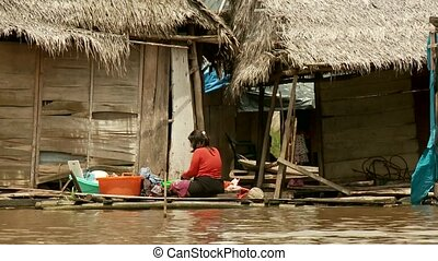 Slums At Amazon River, Southamerica. Belen, Iquitos, Peru
