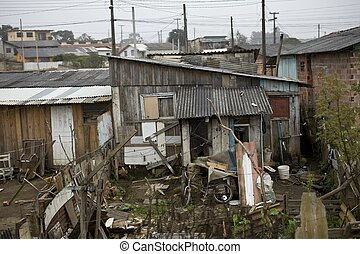 Shanty town - Very poor houses in Parana State - Brazil.