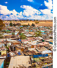 shantytown, calle, soweto