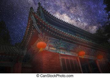 Night landscape of the Starry sky.