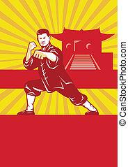 Shaolin Kung Fu Martial Arts Master Retro - Illustration of...