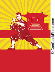 Illustration of shaolin kung fu martial arts karate master in fighting stance with temple and sunburst in background set inside oval done in retro style.