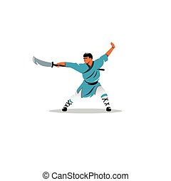 Shaolin monk with a sword sign. Vector Illustration.