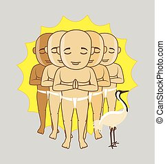 Shaolin Monks Characters Vector Illustration