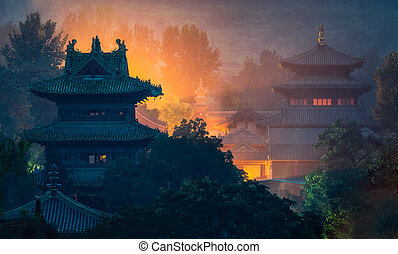 Shaolin temple in Hunan province, China