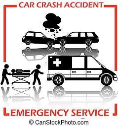 Shape car crash and emergency service