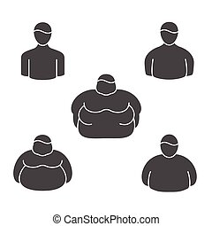Shape classification of obesity level and physical appearance in obese people. vector line icons