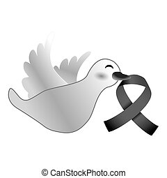 Shape dove with cancer symbol in the beak