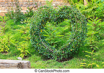 Heart decorated tree in the garden
