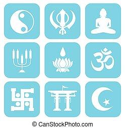 Shape Icons Set of Religious Symbol