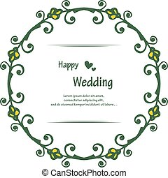 Shape of card happy wedding, vintage frame with cute wreath. Vector