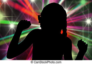 shape of dancing young girl in the disco