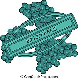 shape of Enzymes cells vector illustration Closeup view. Digestive biotechnology