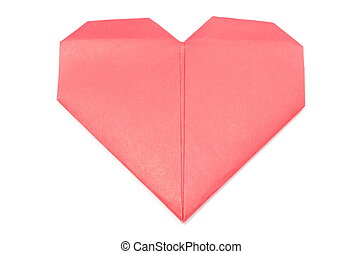 Shape of heart from red recycled paper