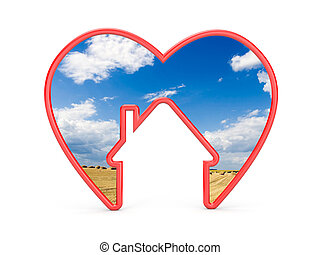 Shape of heart with house and the scenery inside. Sweet home...