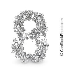 Shape of number 8 made from 3d numbers