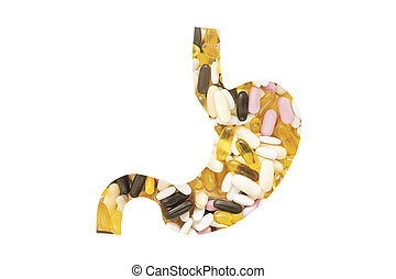 Shape of Stomach with pills, on white background. Medical concept, copy space