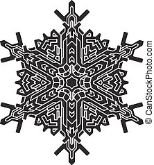 Shape of stylish black snowflake for your design. Vector geometric pattern.