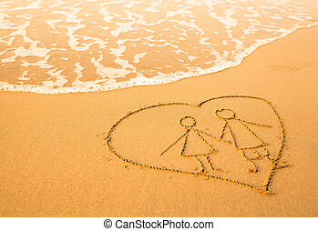 Shape of the pair inside heart of the sea on the beach, soft wave of the sea.