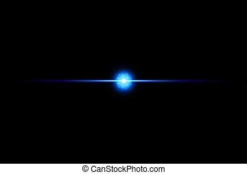 Shape, Single Line, Light Beam, Spotlight, Star. Blue neon lines with light effects isolated on black transparent background. Vector illustration