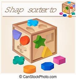 Shape sorter toy. Cartoon vector illustration