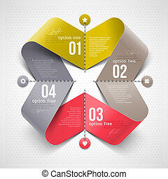 Shape with infographics elements - Abstract shape with...