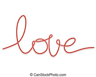 Bright red yarn in the shape of a word - love. EPS 10 vector file included
