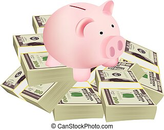 pig-shaped piggy bank on a pile of dollars business