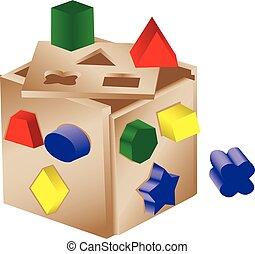 Shaped sorter toy - An illustration of a wooden shape sorter...
