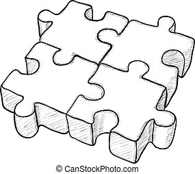 Shaped vector drawing - puzzle - Shaped monochrome vector...
