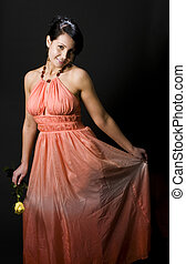 shapely pretty young woman smiling pretty dress with rose