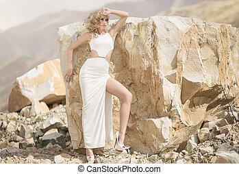 Shapely woman wearing sexy dress