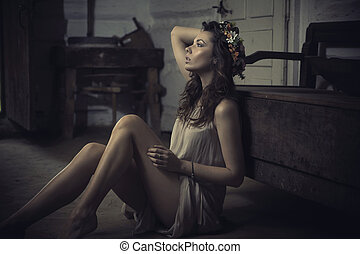 Shapely young brunette in old interior - Shapely young...