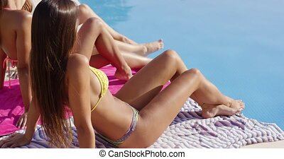 Shapely young woman sunbathing with her friends