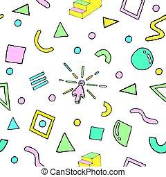 shapes., 抽象的, pattern., ファッション, レトロ, seamless, スタイル, 80s-90s, style., 幾何学的, 背景