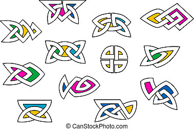 Shapes and elements in celtic ornament style
