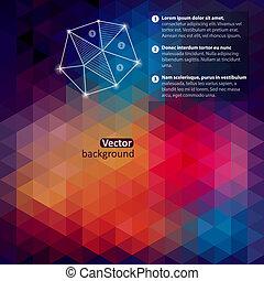shapes., háromszög, motívum, colorful-mosaic-banner., text., csípőre szabott, retro, háttér, állás, geometriai, -e